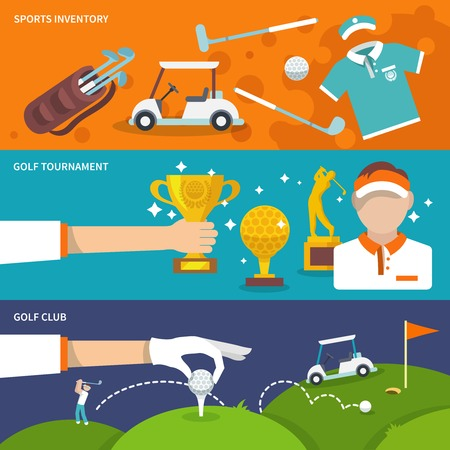 exercise equipment: Golf club banner set with sport inventory tournament player isolated vector illustration
