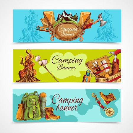 bonfire: Camping sketch banner horizontal set with backpack hiking boots bonfire isolated vector illustration