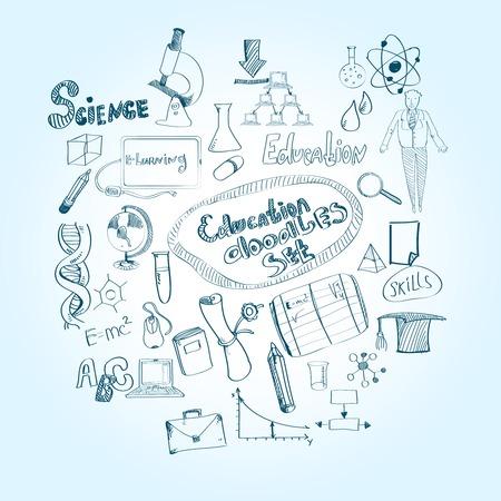 educational subject: Education doodle set with chemistry math physics educational subjects symbols isolated vector illustration