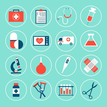 first aid sign: Medical equipment icons set with first aid kit phonendoscope syringe isolated vector illustration
