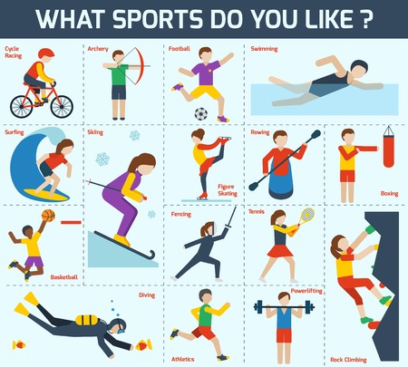 water skiing: Sports icons set with cycle racing archery football swimming isolated vector illustration Illustration