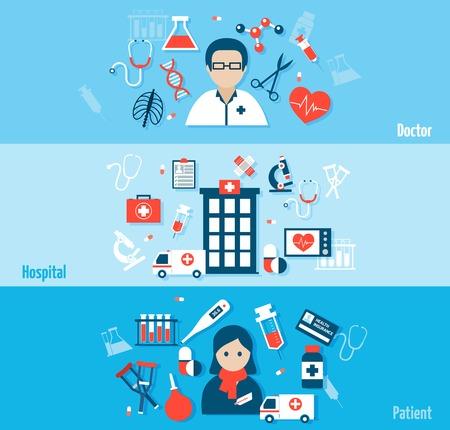 medical instruments: Banner phẳng y tế thiết lập với các yếu tố bệnh nhân bệnh viện bác sĩ phân lập minh hoạ vector Hình minh hoạ