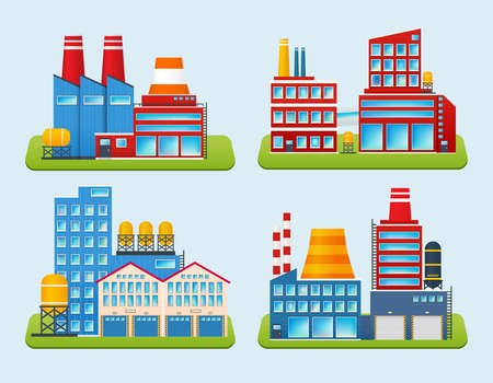 edifice: Industrial edifice factory and power plant building set isolated vector illustration
