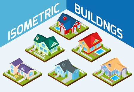 houses: Private house real estate decorative icons set 3d isometric isolated vector illustration