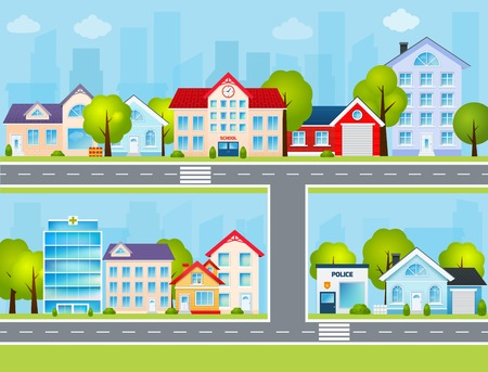 art of building: Flat town buildings with private houses school police office vector illustration Illustration
