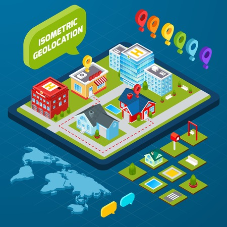 geolocation: Isometric geolocation concept with town houses private and office buildings and gps icons 3d vector illustration