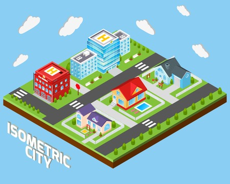 Isometric city concept with private houses and government buildings decorative icons set vector illustration Vector