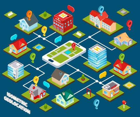 connected: Isometric geolocation concept with 3d buildings connected with mobile phone vector illustration