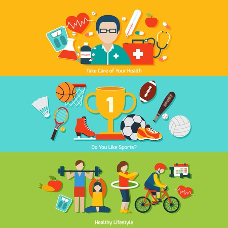 physical activity: Sport flat banners set with health care and healthy lifestyle elements isolated vector illustration