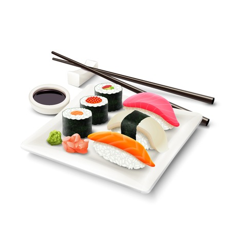 Sushi asian fish food realistic set with plate chopsticks and spices isolated on white background vector illustration