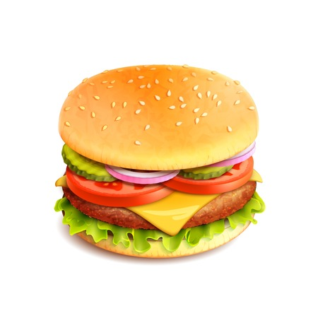 unhealthy food: Hamburger fast food sandwich emblem realistic isolated on white background vector illustration