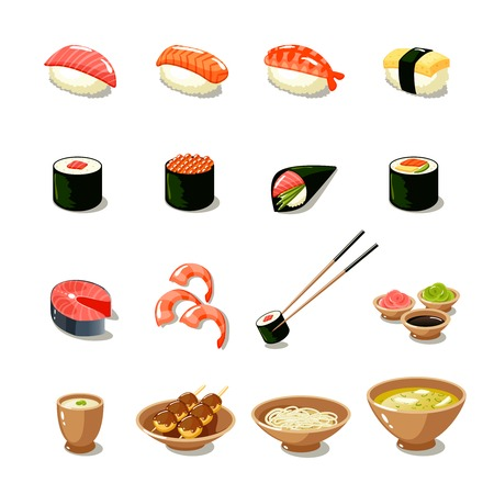 sushi restaurant: Asia food icon set with sushi rolls sashimi noodle miso isolated vector illustration