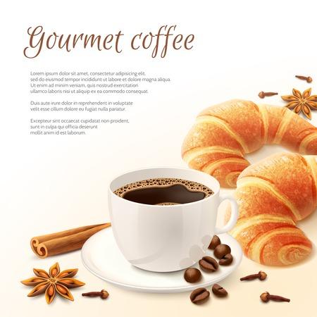 desayuno: Desayuno con caf� gourmet con especias y fondo croissant ilustraci�n vectorial
