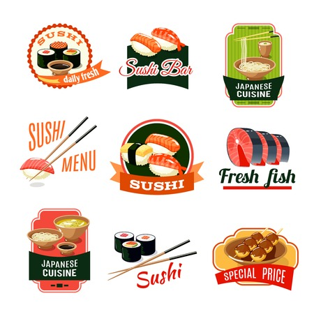 oriental cuisine: Asian food sushi bar japanese cuisine fresh fish labels set isolated vector illustration