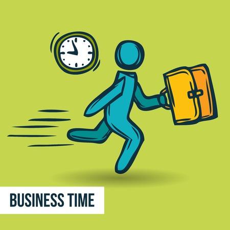 Temps activité de gestion route de l'affiche de la réussite de caractère horloge et man cartoon vecteur croquis illustration.