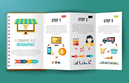 comprando: Infograf�a planas compras de comercio electr�nico en l�nea en el cuaderno doblado ilustraci�n vectorial p�gina