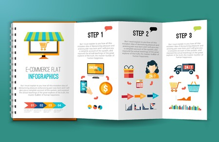 Online shopping e-commerce flat infographics on folded notebook page vector illustration Illustration