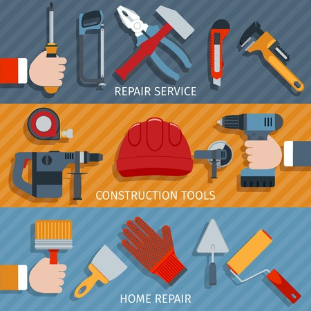 tools construction: Repair tools service construction home flat banner set isolated vector illustration