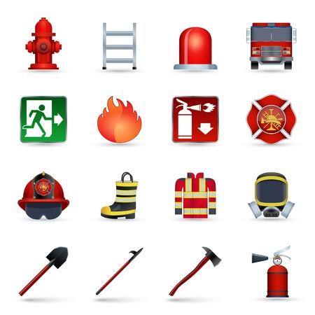 bombero de rojo: Realistas de iconos de bombero establecen con m�scara aislado emblema casco hacha ilustraci�n vectorial