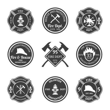 fire car: Fire department professional firefighter equipment black emblems set isolated vector illustration