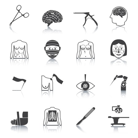 surgeon operating: Plastic aesthetic surgery medical operation healthcare hospital icons black set isolated vector illustration