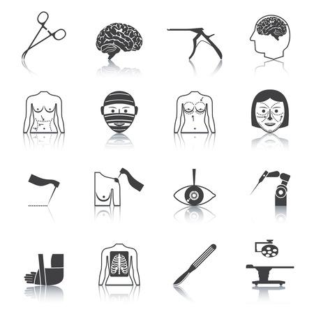chirurgo: Plastica Chirurgia estetica funzionamento medico ospedale icone set nero illustrazione vettoriale isolato Vettoriali