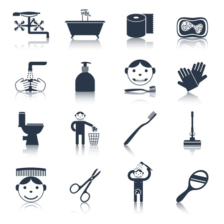 Hygiene icons black set with bath face and body care isolated vector illustration