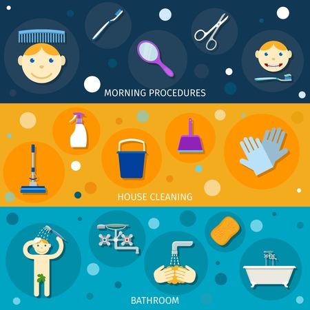 procedure: Banner igiene set piatto con procedure interne mattina la pulizia bagno, illustrazione vettoriale