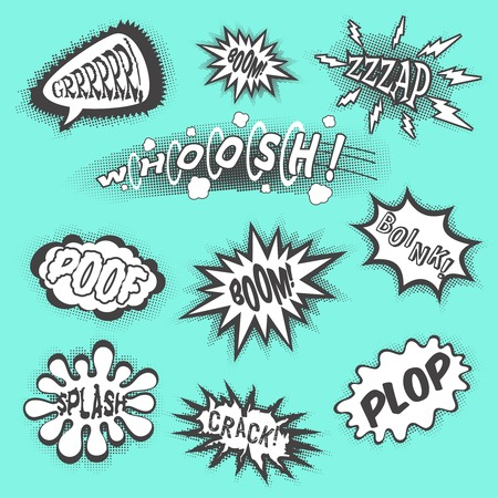 Comic sounds abstract cartoon text bubbles black set isolated vector illustration Illustration