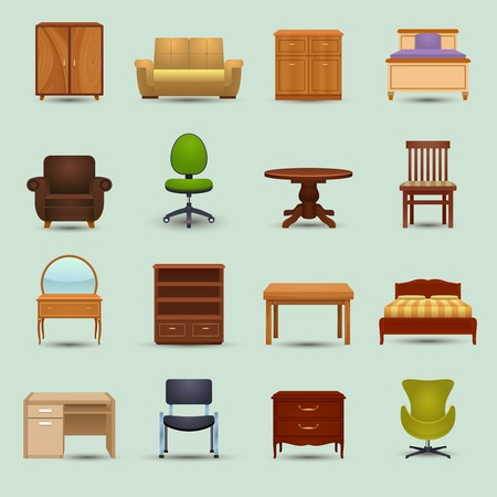 home furniture: Furniture icons set with desk sofa bookshelf wardrobe office chair isolated vector illustration