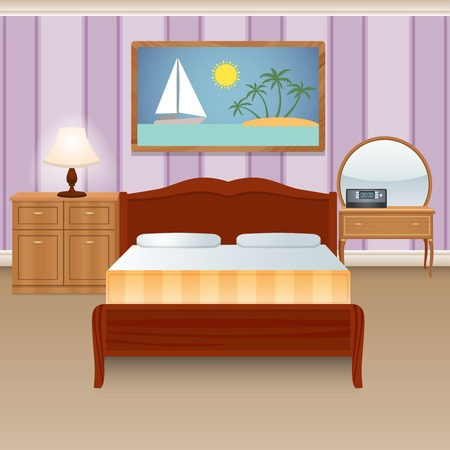 bedroom bed: Bed room interior house apartment with furniture wardrobe decor poster vector illustration