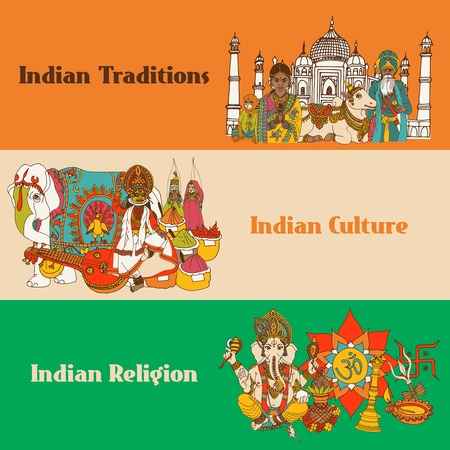 india culture: India colored sketch banners set with traditions culture religion isolated vector illustration