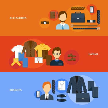 casual business: Clothes flat banner set with accessories casual business elements isolated vector illustration Illustration