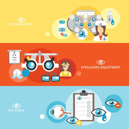 contact lens: Oculist flat banner set with eye check diagnostics eyeglasses adjustment isolated vector illustration