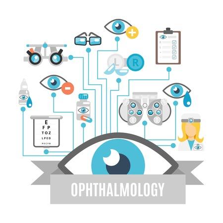 Ophthalmology flat concept with oculist decorative icons set vector illustration Illustration