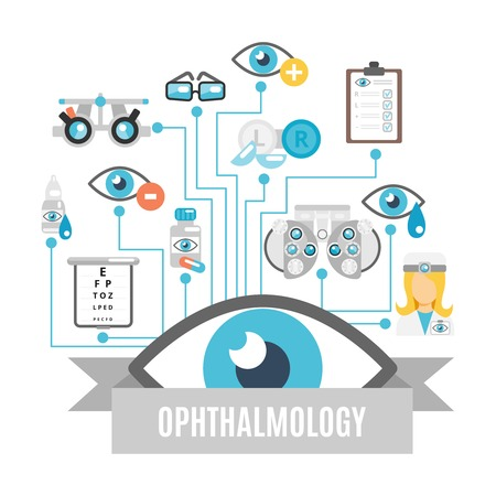 eye exams: Ophthalmology flat concept with oculist decorative icons set vector illustration Illustration