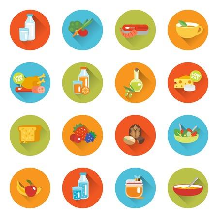 Gezond eten vlakke pictogrammen set met geïsoleerde vlees melk vis kaas vector illustratie