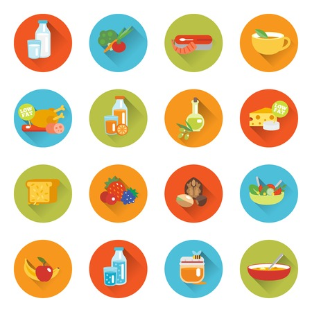 Le icone piane di cibo sano messe con il formaggio del pesce del latte della carne hanno isolato l'illustrazione di vettore Archivio Fotografico - 34738587
