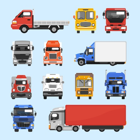 Truck auto delivery transport vehicles decorative icons flat set isolated vector illustration Illustration