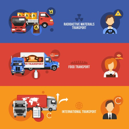 Truck flat banners set with radioactive materials food international transport isolated vector illustration Vector