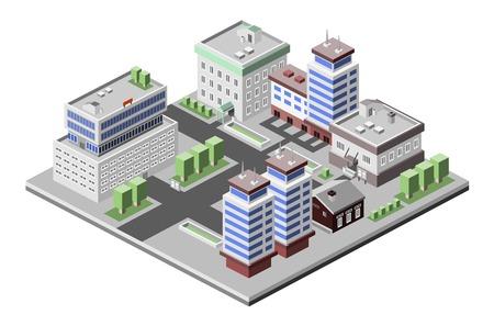 corporate building: Business center modern 3d urban city office buildings decorative icons set isometric vector illustration Illustration