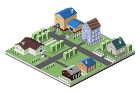 residential neighborhood: Residential house 3d buildings isometric neighborhood real estate concept vector illustration