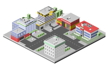 station: Isometric town concept with government buildings set of hospital police fire station vector illustration Illustration