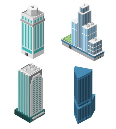 Skyscrapers 3d isometric office buildings business apartment set isolated vector illustration
