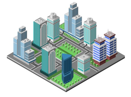 Modern city concept with isometric skyscraper offices 3d buildings decorative icons set vector illustration