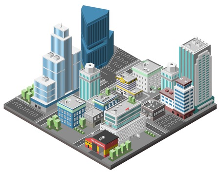 City downtown concept with isometric office skyscrapers and government buildings 3d vector illustration