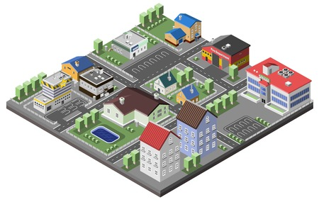 Suburban concept with house apartments and government buildings 3d isometric decorative icons vector illustration Ilustração