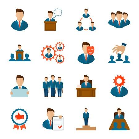 hombres ejecutivos: Iconos planos del equipo corporativo de gestión ejecutiva personas empleados conjunto aislado ilustración vectorial Vectores