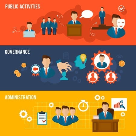 man and banner: Executive banners icons set with public activities governance administration isolated vector illustration