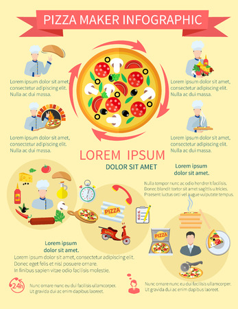 pepperoni pizza: Fast food pizza maker perfect service pizzeria fresh ingredients infographics set vector illustration